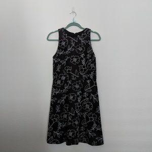 LOFT Black White Floral  A-Line Dress
